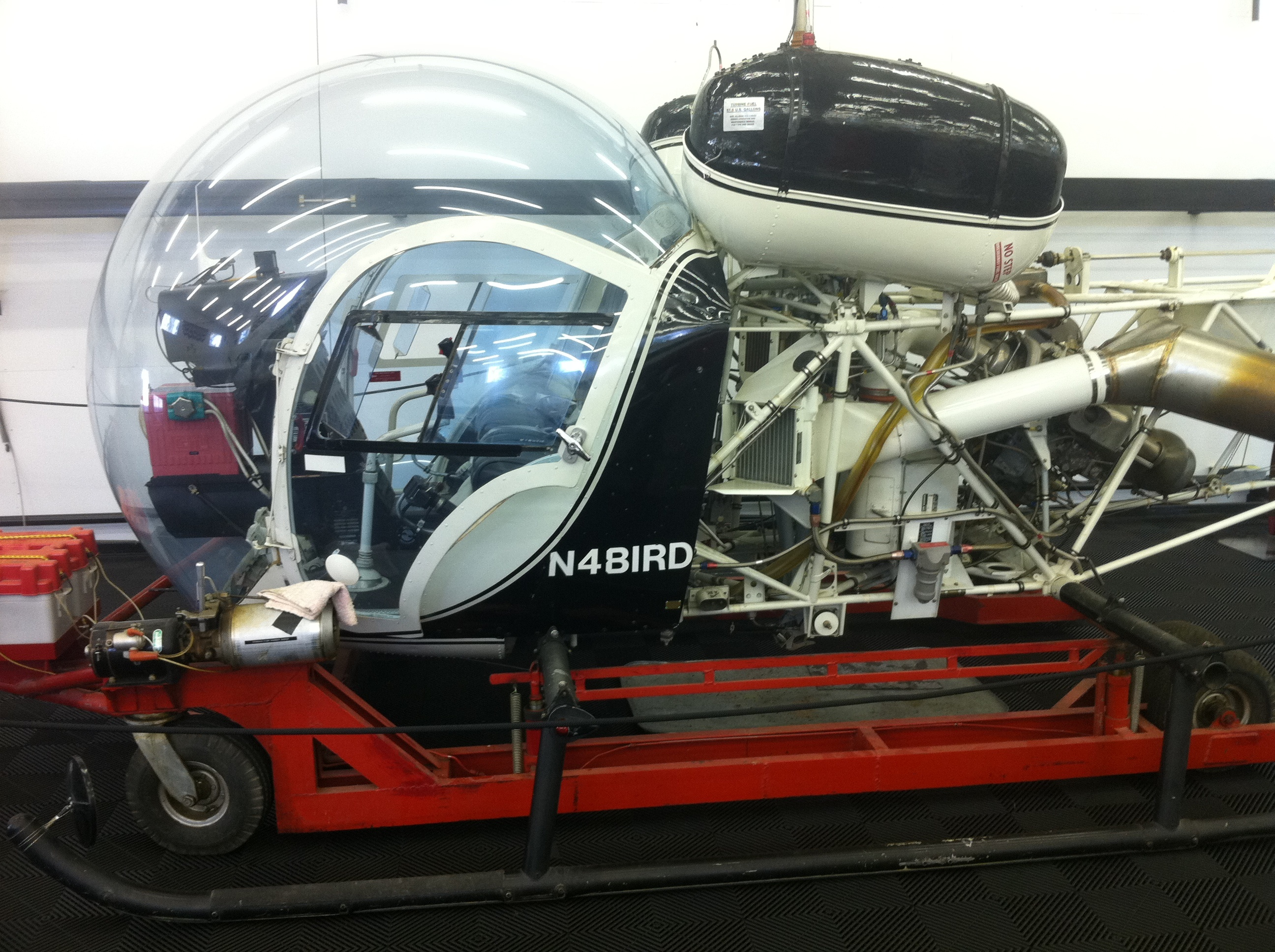 Bell 47 helicopter converted to turbine engine power registration